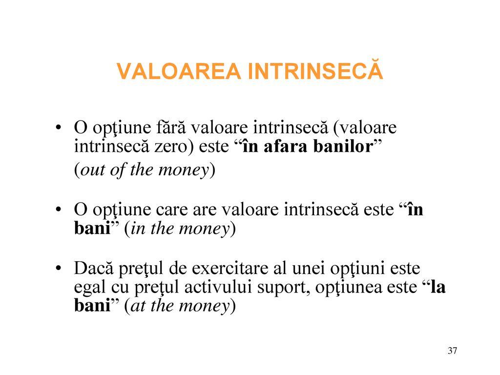 valoarea intrinsecă și prețul opțiunii
