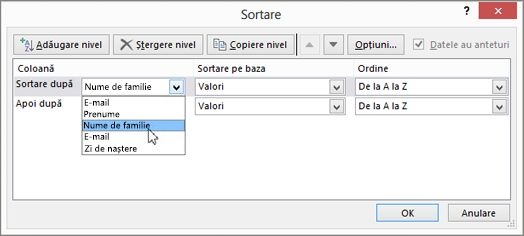 opțiuni în Excel