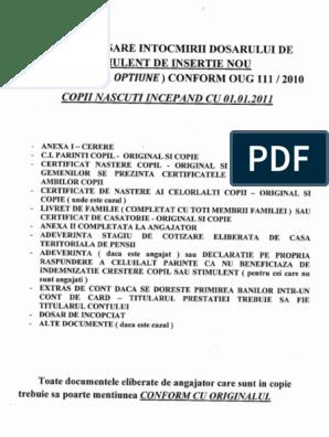 certificat de opțiune)