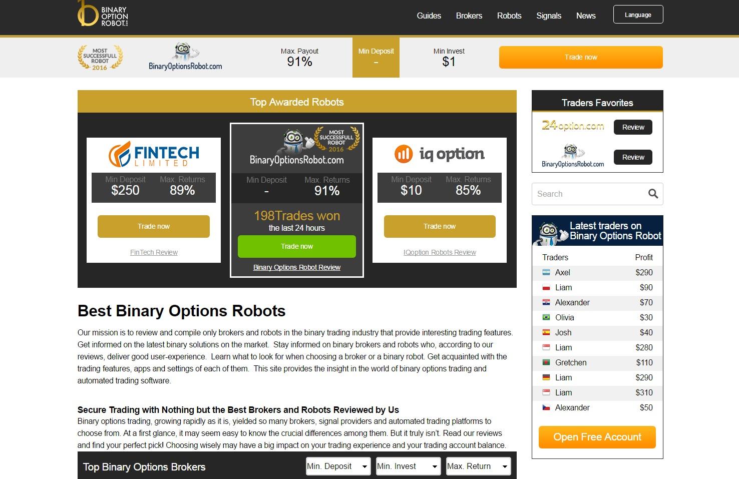 roboți pentru recenziile de opțiuni binare câștigați bani pe Internet în versiunea mobilă