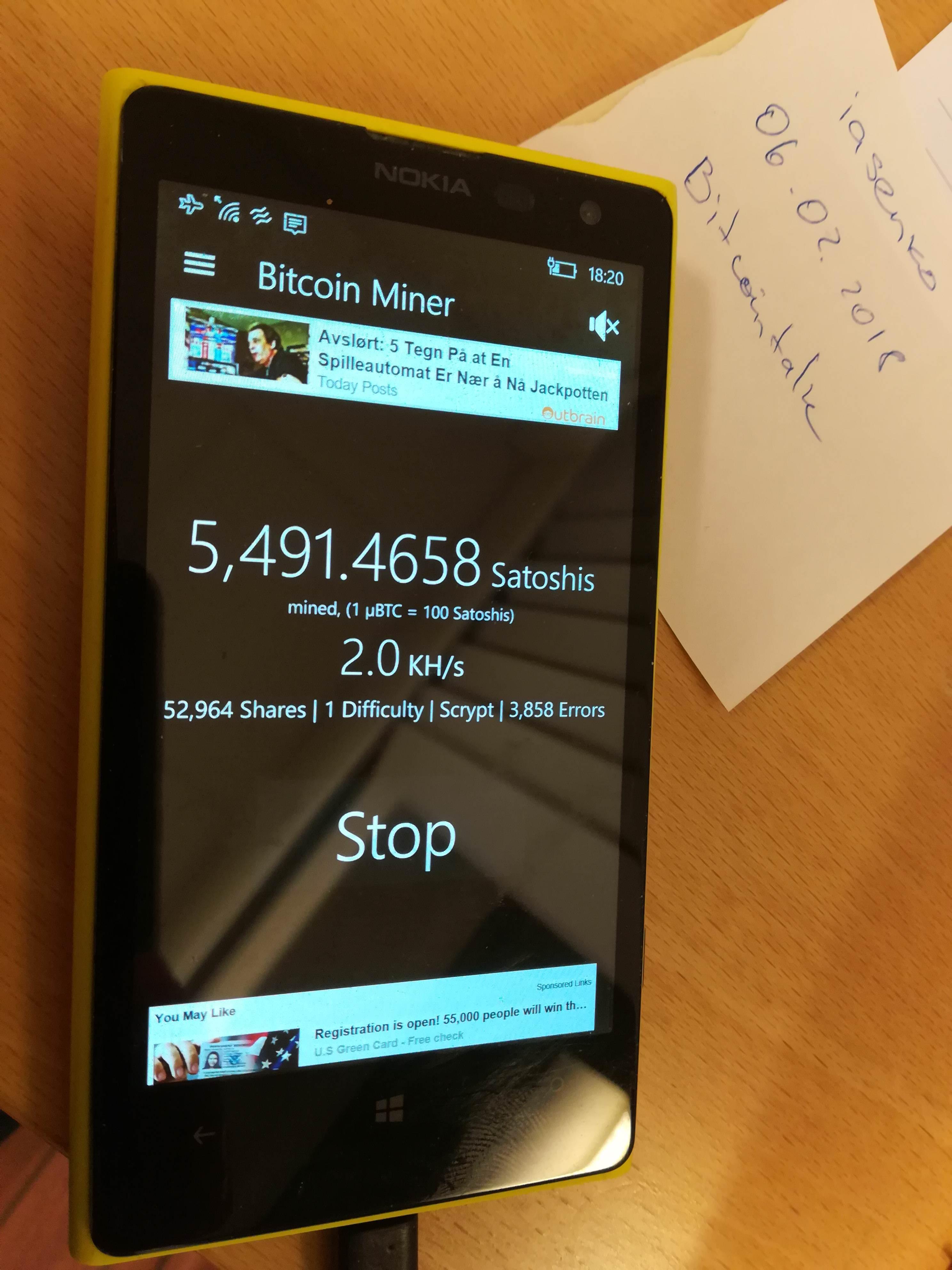 câștigați bitcoins pe Microsoft Lumia)