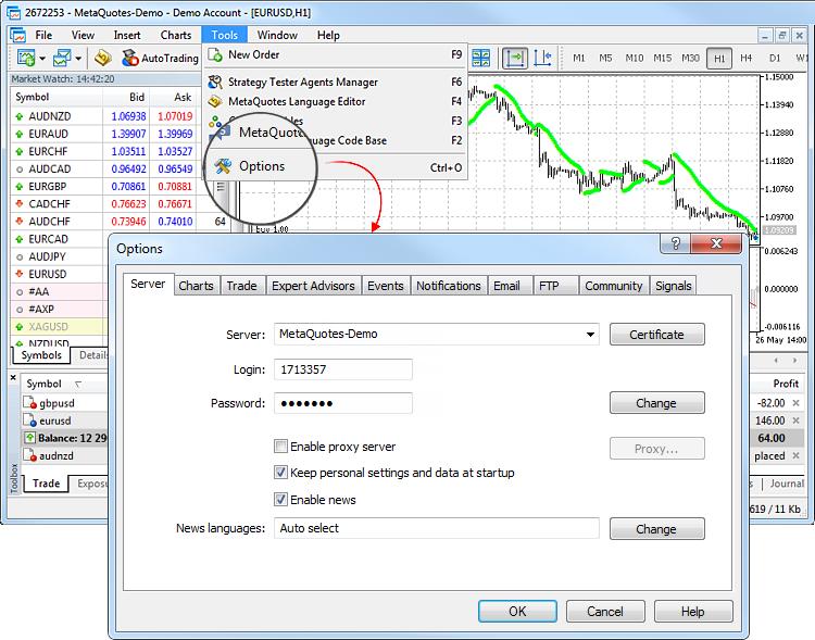cont demo de active sistem de semnalizare pentru opțiuni binare