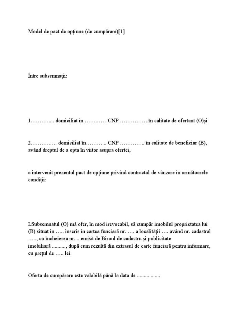 Caracteristici ale pactului de optiune