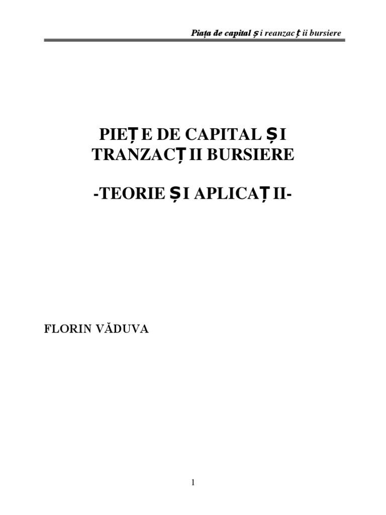 Piete de Capital Si Burse de Valori